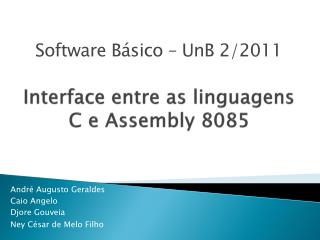 Interface entre as linguagens C e Assembly 8085