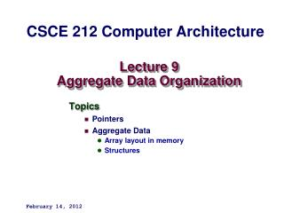 Lecture 9 Aggregate Data Organization