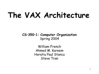 The VAX Architecture