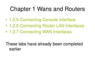 Chapter 1 Wans and Routers
