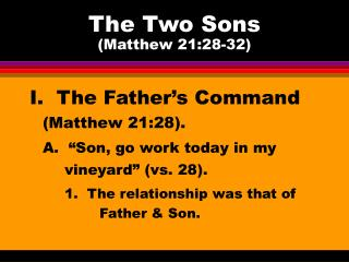 The Two Sons Matthew 21:28-32