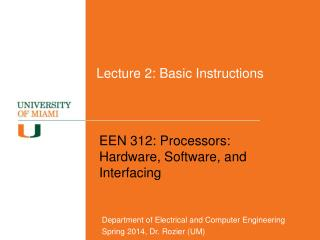 Lecture 2: Basic Instructions