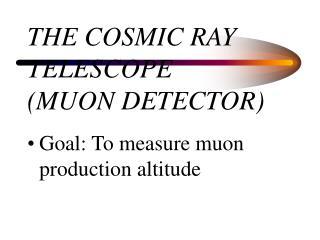 THE COSMIC RAY TELESCOPE  (MUON DETECTOR)