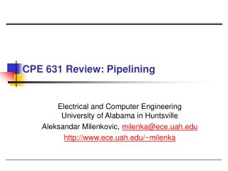 CPE 631 Review: Pipelining