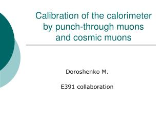 Calibration of the calorimeter by punch-through muons  and cosmic muons