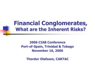Financial Conglomerates, What are the Inherent Risks?