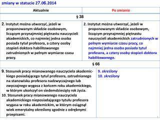 zmiany w statucie 2 7 .0 6 .2014