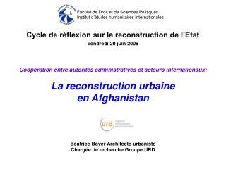 Cycle de réflexion sur la reconstruction de l'Etat
