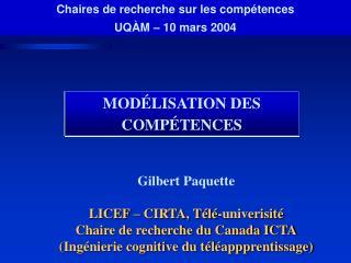 MODÉLISATION DES COMPÉTENCES