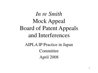 In re Smith Mock Appeal  Board of Patent Appeals  and Interferences
