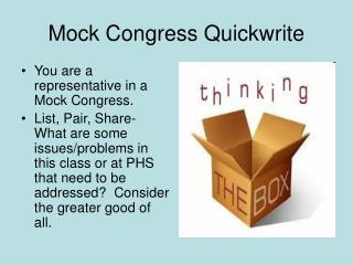 Mock Congress Quickwrite