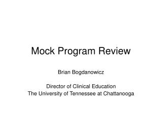 Mock Program Review