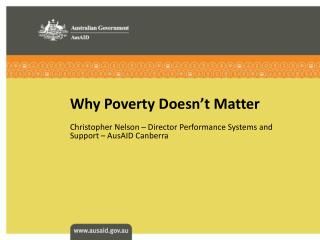 Why Poverty Doesn't Matter