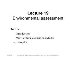 Lecture 19 Environmental assessment