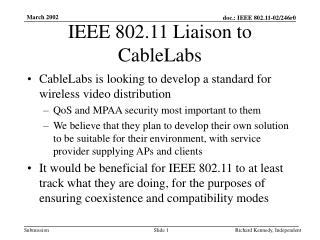 IEEE 802.11 Liaison to CableLabs