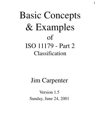 Basic Concepts & Examples of  ISO 11179 - Part 2 Classification