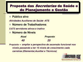 Proposta das  Secretarias  de Saúde e do Planejamento e Gestão