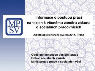 Informace o  postupu prací  na  tezích k  věcnému záměru zákona o  sociálních pracovnících