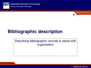Bibliographic description