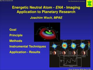 Energetic Neutral Atom -  ENA  - Imaging Application to Planetary Research Joachim Woch, MPAE