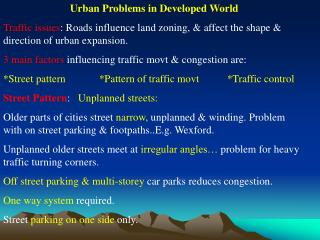 Urban Problems in Developed World