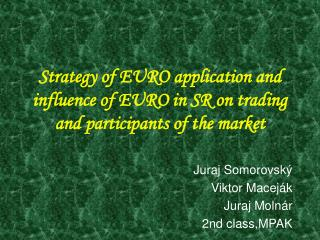 Strategy of EURO application and influence of EURO in SR on trading and participants of the market