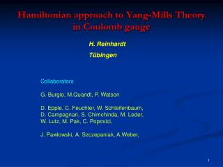 Hamiltonian approach to  Yang-Mills  Theory  in Coulomb  gauge