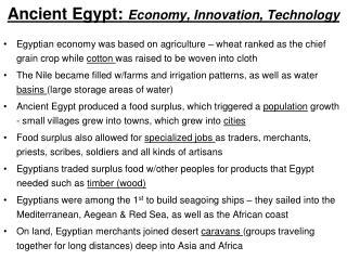 Ancient Egypt: Economy, Innovation, Technology