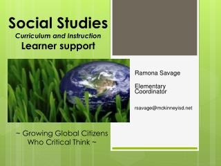 Social Studies  Curriculum and Instruction Learner support