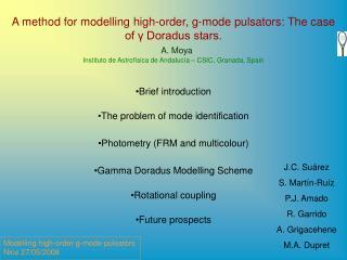A method for modelling high-order, g-mode pulsators: The case of γ Doradus stars.