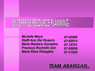 Murielle Moya Steffi Ann Del Rosario  Maria Barbara Gonzales  Precious Rochelle Gan
