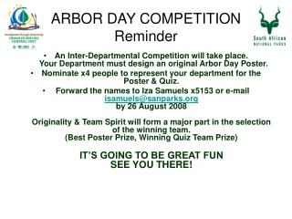 ARBOR DAY COMPETITION Reminder