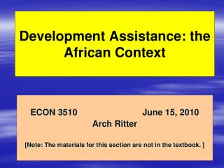 Development Assistance: the African Context