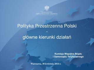 Polityka Przestrzenna Polski  - główne kierunki działań