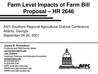Farm Level Impacts of Farm Bill Proposal – HR 2646