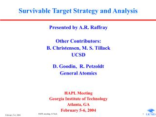 Survivable Target Strategy and Analysis