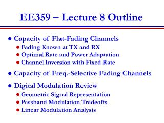 EE359 – Lecture 8 Outline