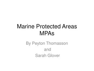 Marine Protected Areas MPAs