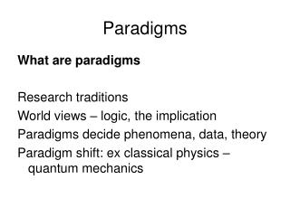 What are paradigms