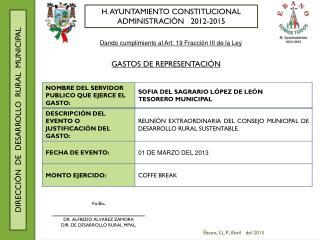 H. AYUNTAMIENTO CONSTITUCIONAL ADMINISTRACI�N   2012-2015