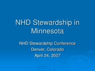 NHD Stewardship in Minnesota