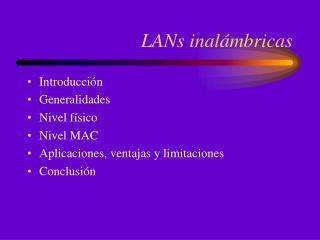 LANs inalámbricas
