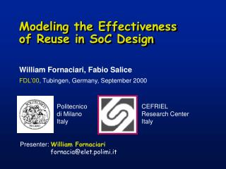 Modeling the Effectiveness  of Reuse in SoC Design