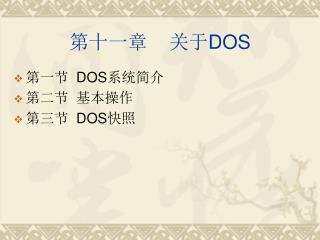 第十一章 关于 DOS
