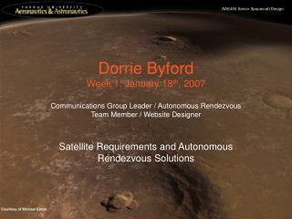 Dorrie Byford Week 1: January 18 th , 2007