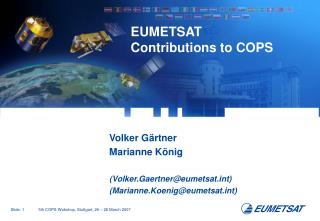 EUMETSAT Contributions to COPS