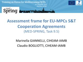 Assessment frame for EU-MPCs S&T Cooperation Agreements  (MED-SPRING, Task 9.5)