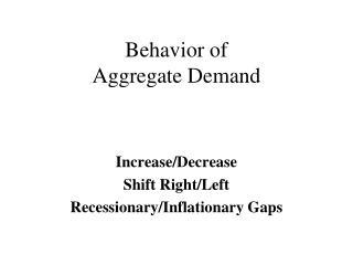 Behavior of  Aggregate Demand