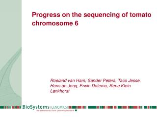 Progress on the sequencing of tomato chromosome 6