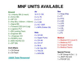 MNF UNITS AVAILABLE